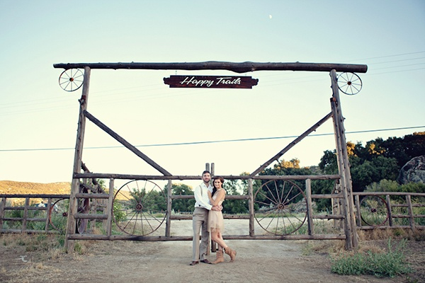 """love this """"happy trails"""" sign - perfect for a send off wedding photo!  vintage farm to table styled wedding shoot 