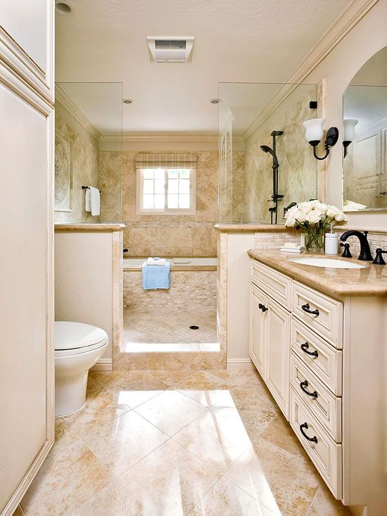 Smart space planning makes the most of this narrow for Bathroom designs neutral colors