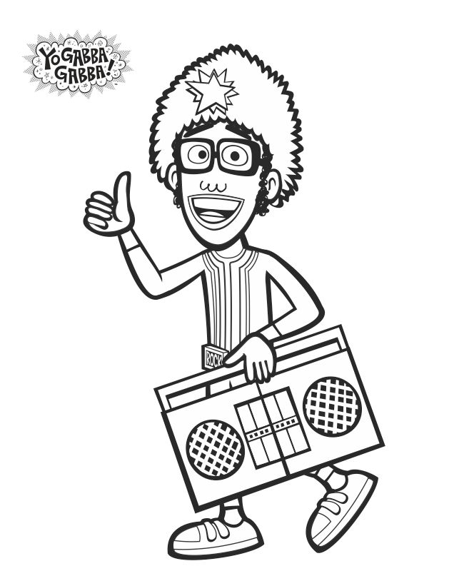 DJLance Coloring Sheet yogabbagabba