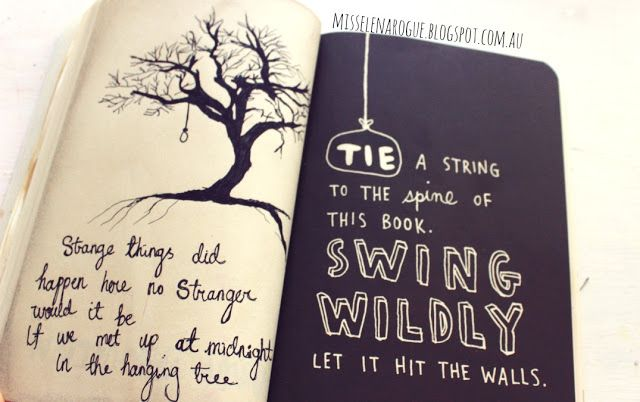 Tie a string to the spine of this book and swing wildly. inspired by the hunger games
