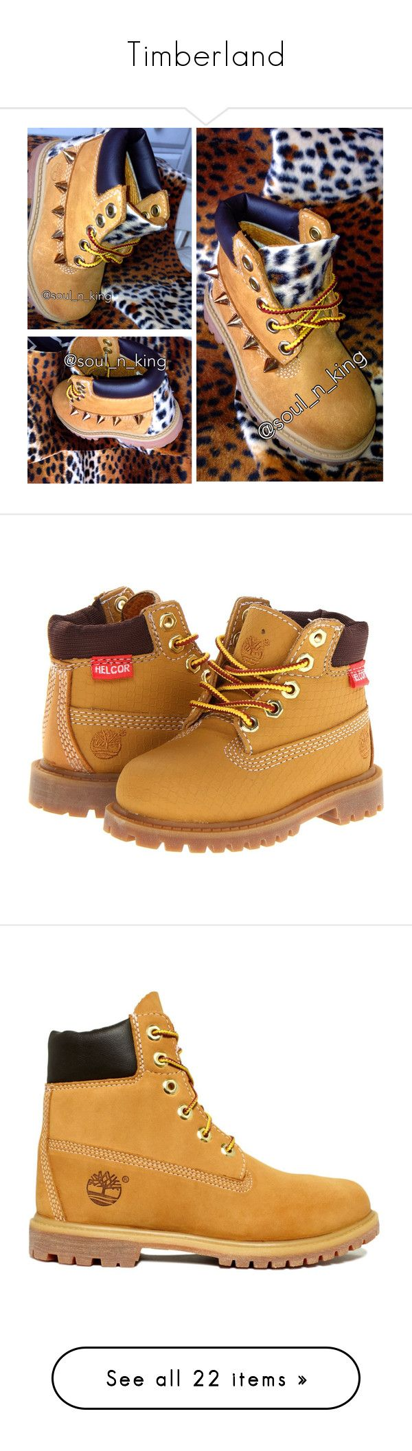 """""""Timberland"""" by nouisxsmiles ❤ liked on Polyvore featuring shoes, boots, ankle booties, timberlands, ankle boots, timberland boots, round toe ankle boots, short boots, round toe booties and short leather boots"""