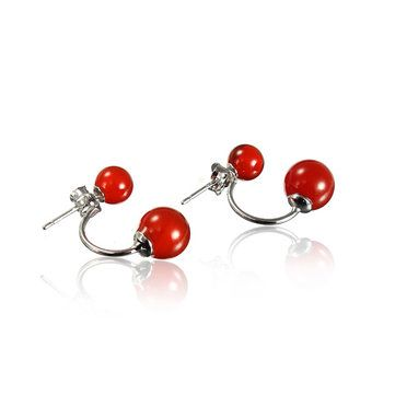 Elegant Round Agate Double Side Ear Stud Earrings Women Jewelry at Banggood