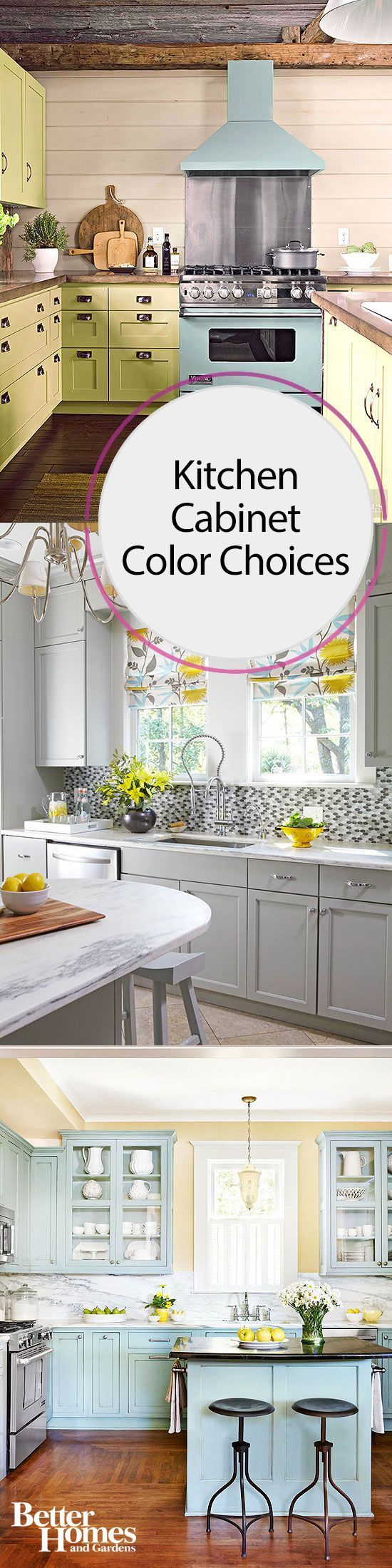 Whether you buy colorful cabinets or paint them yourself, you'll love  getting color
