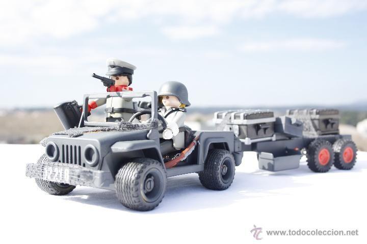 Playmobil Custom - Jeep con remolque de Armas, y soldados - Alemanes - 100%…