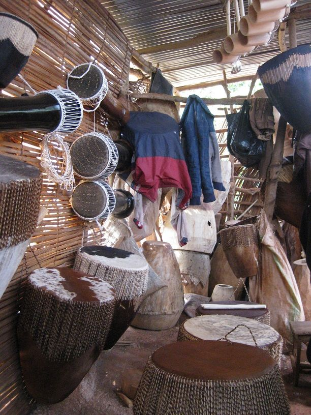 Drum and musical instruments made from wood and skin of monitor lizards, cows and goats.
