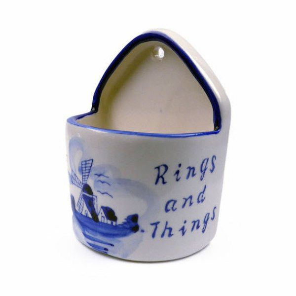 """Blue and White Ring Box (""""Rings & Things"""")"""