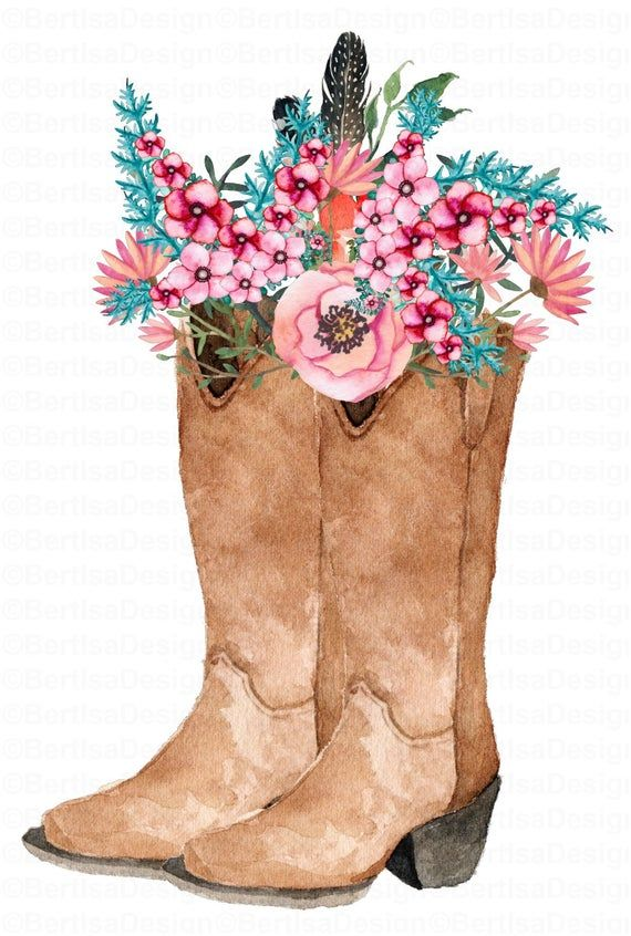 Cowgirl Boots Sunflower Cowgirl Boots Sublimation Etsy Floral Watercolor Floral Boots Cowgirl