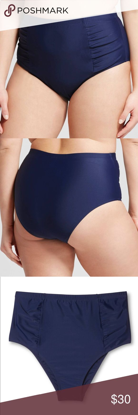 New blue swim bottom in 2X • Nylon/Spandex for reliable stretch • Fully lined for comfort and modesty • High waist is flattering and provides more coverage • Ruched sides create a slimming front panel  Dive into the season in the Women's Plus Size Solid Retro High Waist Bikini Bottoms in Navy by Costa del Sol. The neutral charm of this plus size swimwear makes it a versatile delight. Swim Bottom Style: bikini Garment Details: Full lining Material: 82% Nylon, 18% Spandex. New without tags…
