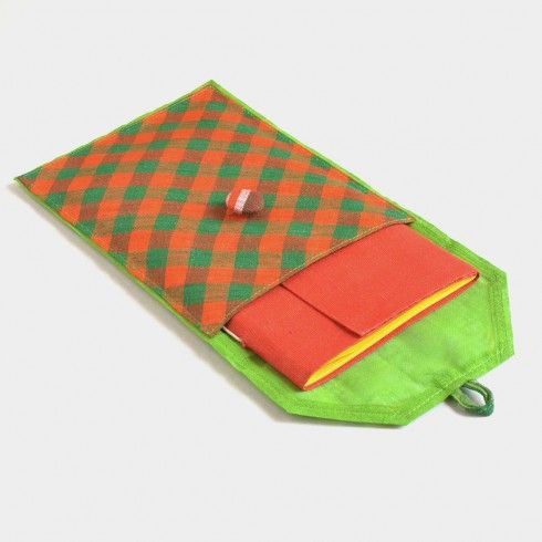 Buy Green, Yellow & Red Banaras Pouch Notebook at Tadpole Store