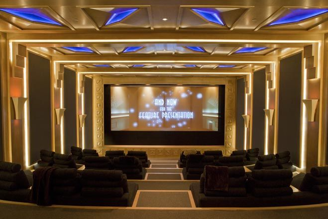 The subterranean movie theater has custom-designed stadium-style seating for 50 people.
