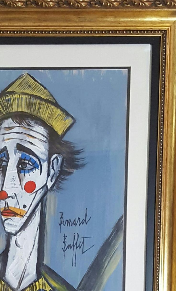 Bernard Buffet TETE DE CLOWN attrib Water color on paper Size
