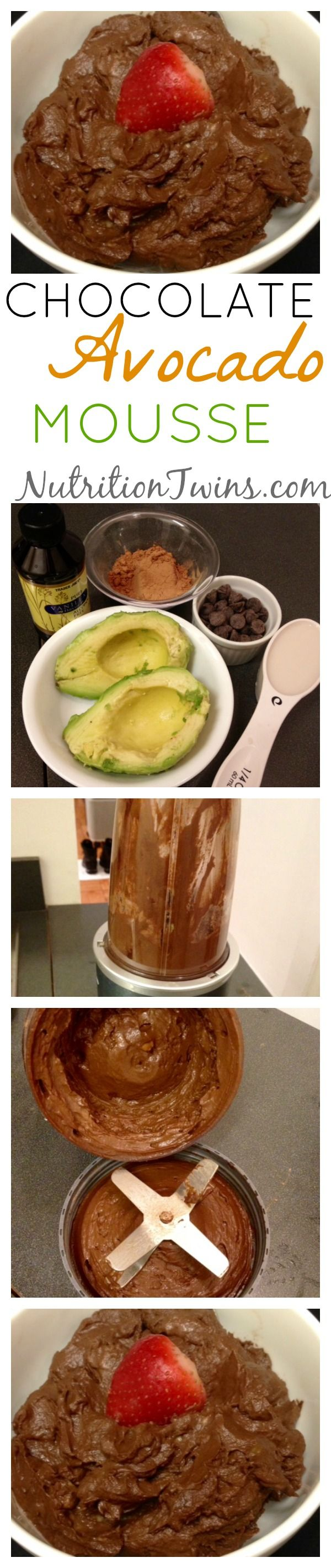 Chocolate Avocado Mousse | Good for the Waistline | Creamy and Only 87 Calories | Satisfying, Healthy, Vegan, Gluten-free, Dairy Free | For MORE RECIPES, fitness & nutrition tips please SIGN UP for our FREE NEWSLETTER www.NutritionTwins.com