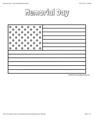Memorial Day coloring page with a picture of the American flag to color