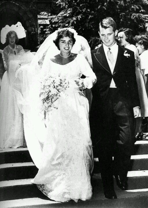 Robert and Ethel Kennedy on there wedding day.