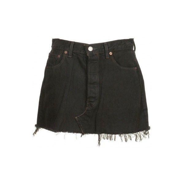 Levi's Black Denim Skirt W32 - Vintage clothing from Rokit - jean... ❤ liked on Polyvore featuring skirts, bottoms, shorts, denim, levi skirts, denim skirt, vintage skirts, vintage denim skirt and denim mini skirt