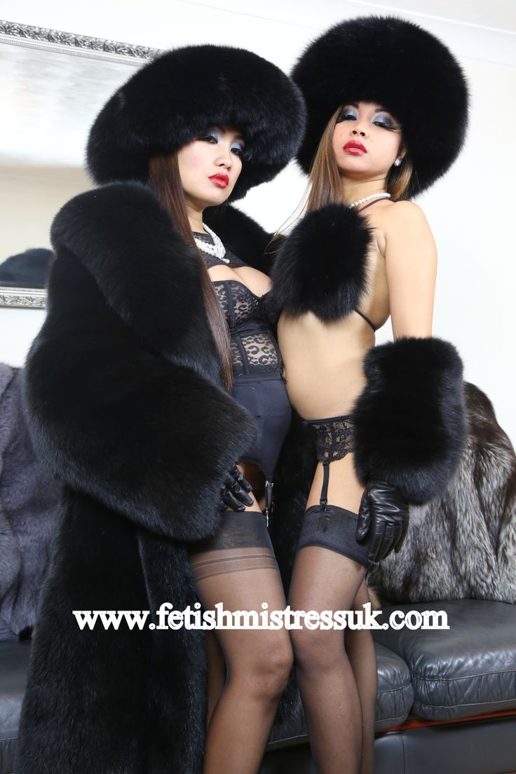 Black Fox Fur Bikini and Leather and Black Fox Fur Opera length Gloves.