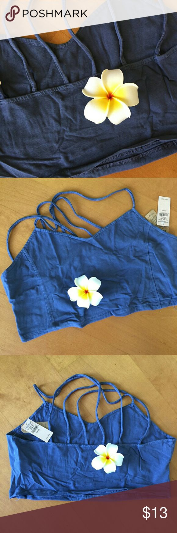 New faded Dark blue strappy top size XXL Cute Crop top with a Bustier styling. New with tags from AEO. 95% cotton 5% elastane.  First and last photo show closet color match. Strappy criss cross back..XXl American Eagle Outfitters Tops Crop Tops
