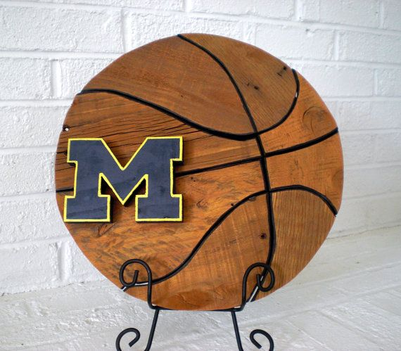 Handmade Wooden Michigan Wolverines Basketball by ConversationBits