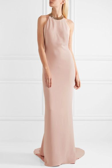 Blush stretch-crepe Push clasp fastening at neck, concealed hook and zip fastening at back 64% viscose, 32% acetate, 4% elastane; trim: 100% brass; lining: 100% silk Dry clean Made in Italy