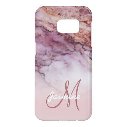 Personalized Girly Rose Gold Marble Name Initial Samsung Galaxy S7 Case - monogram gifts unique design style monogrammed diy cyo customize
