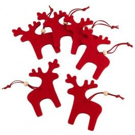 Felt material reindeer Available in red or cream.