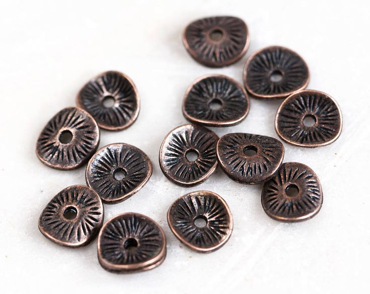 2475_Antique copper spacer beads 9x8 mm, Wavy disc beads, Disk beads, Jewelry spacers, Metal beads, Copper bead spacers, Metal beads_100 pcs by PurrrMurrr on Etsy