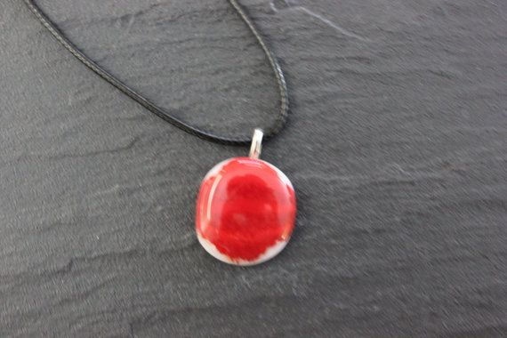 Red Glass Fused Pendant White Base Glass by GlassJewelleryByJ
