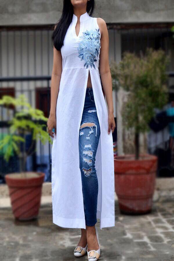 Buy White Pure Linen Embroidered Kurti - Buy Women Kurti in India | Long kurti designs, Kurti designs party wear, Fashion design clothes