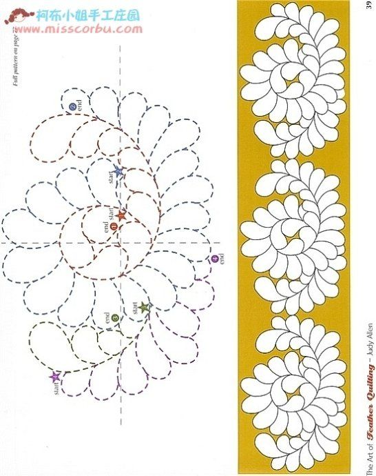 Several quilting patterns