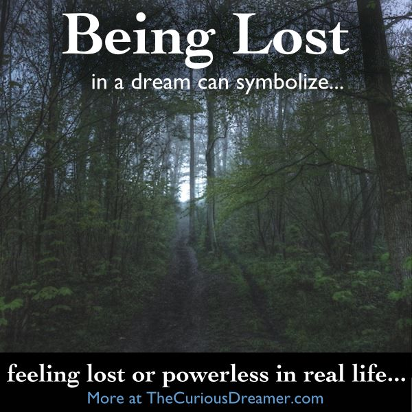 In a dream, being lost or not being able to find your way can symbolize...   More at TheCuriousDreamer.  #DreamMeaning #DreamSymbol