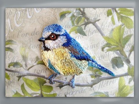 how to embroider a blue tit bird - YouTube