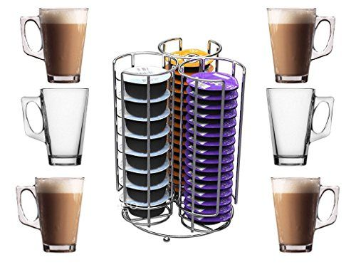 FiNeWaY@ 48 TASSIMO COFFEE POD TOWER STAND HOLDER + 6 FREE LATTE GLASSES MUGS CUPS