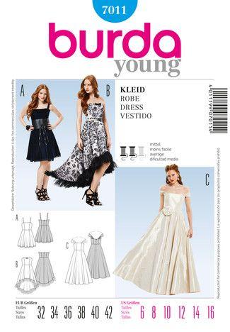 Schnittmuster: Abendkleid schulterfrei - Festliche Mode - Damen - burda style