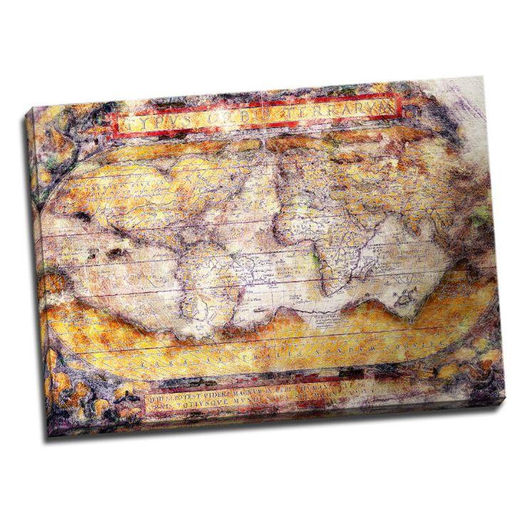 """Tablou Harta Lumii Vintage """"Amintiri din alta lume"""" in nuante sepia de inspiratie poetica, care va invalui incaperea intr-un aer misterios si original."""
