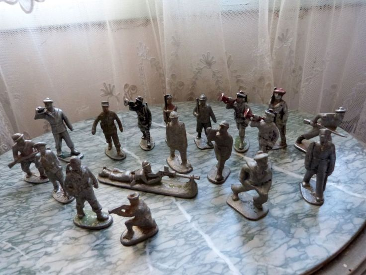 18 Antique French lead soldiers toy metal soldiers WW1 lead toy soldiers vintage toy soldiers, rare world war 1 toy collection by MyFrenchAntiqueShop on Etsy