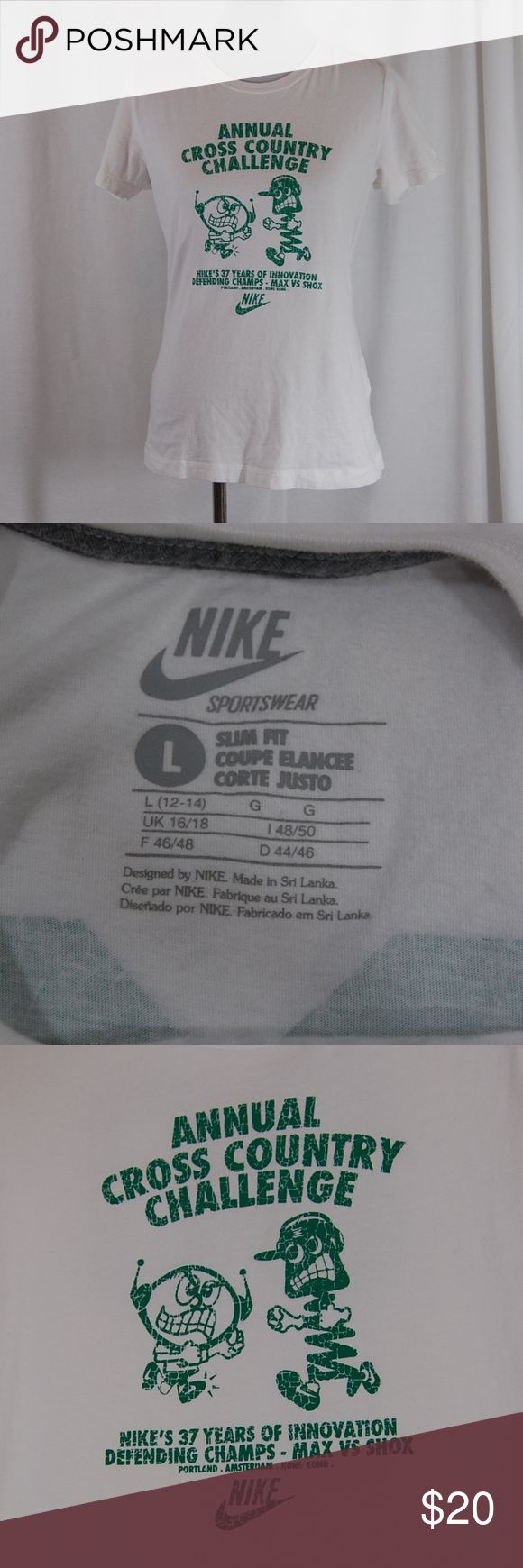 "Nike ""Annual Cross Country Challenge"" Tee (non-sale price $20)  White crew neck short sleeved shirt. Bright green image & lettering. Back of shirt has 00 in a jersey style (large and centered on the back) - see pic.  Great condition with no signs of wear.  Approximate measurements (taken flat): Bust =19"" Length = 26"" Nike Tops Tees - Short Sleeve"