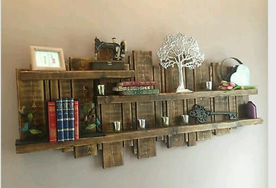 Rustic farmhouse style shelves bookcase wall art - perfect for displaying my Willow Tree angels!