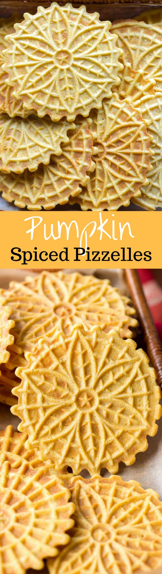 Pumpkin Spiced Pizzelles ~ pumpkin puree and pumpkin pie spice flavor this simple little easy-to-make cookie. Great served with ice cream or as an ice cream sandwich. Roll the hot cookie into a cannoli shape then fill with mousse or dip in white chocolate. www.savingdessert.com
