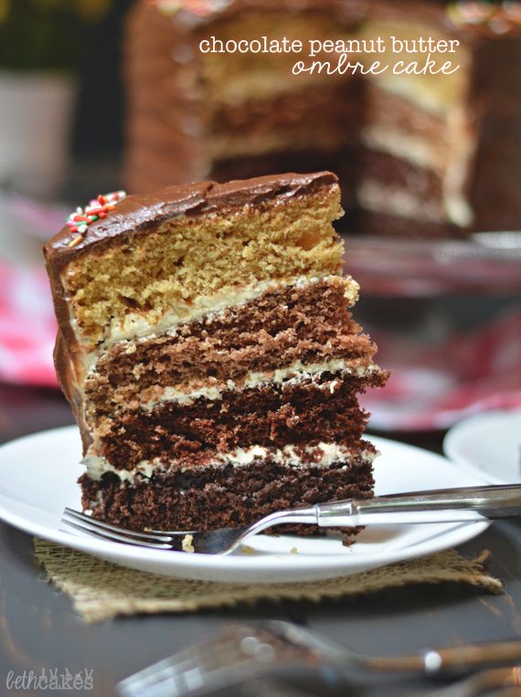 Chocolate Peanut Butter Ombre Cake - Layers of chocolate cake gradually change into peanut butter cake. bethcakes.com
