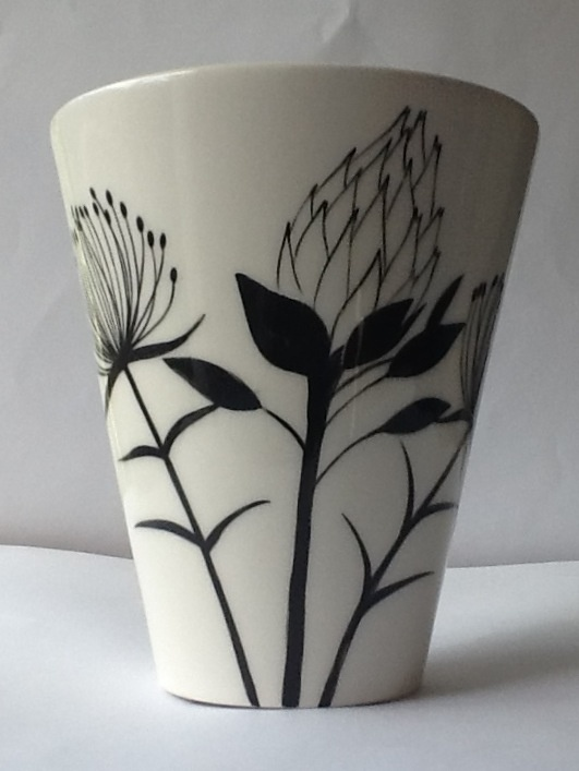 Protea flower vase Hand painted by Janet mimi Eddi Cape Town info@ medesign.co.za