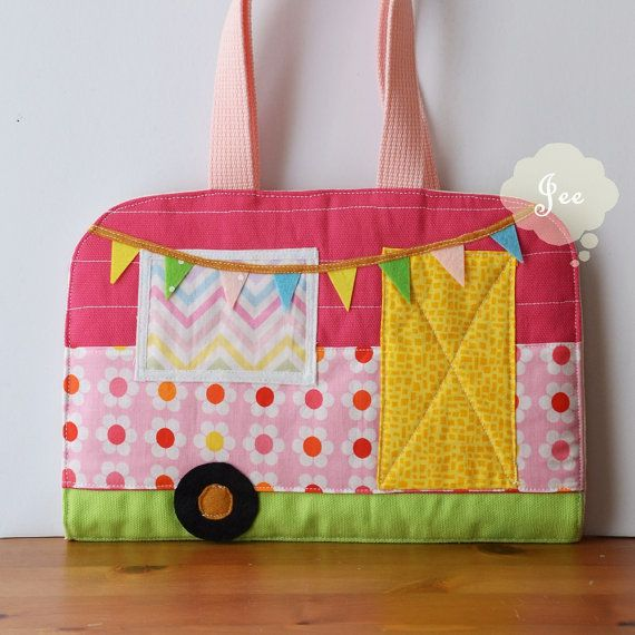 Each item is unique, no reproduction. Have fun playing dress up in a fun take along caravan tote. Super cute for rood trips. This dress up doll caravan