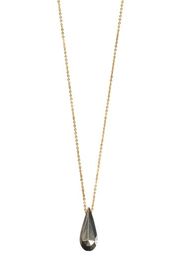 Mixed Metal Teardrop Pendant Necklace