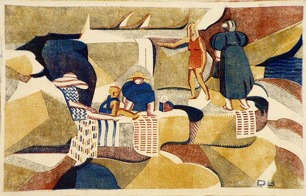 On the Rocks - Dorrit Black. relief linocut, printed in colour, from five blocks (yellow ochre, orange, crimson, light grey, cobalt blue)
