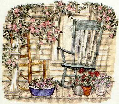 """""""Rosy Repose"""" a cross stitch design by Paula Vaughan."""