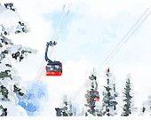 Whistler Peak to Peak Gondola Watercolour Art Print via Etsy