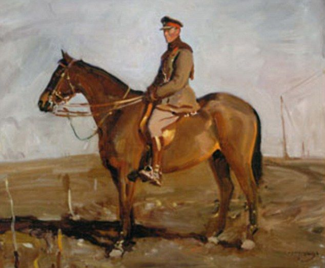 """""""Warrior,"""" as painted by Sir Alfred Munnings. A true war horse, with Gen. Jack Seely, who wrote a book about their  WW1 experiences in 1934."""