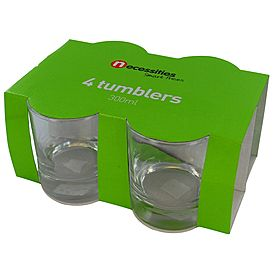 Necessities 4 (short) Tumblers 300ml Clear - $8
