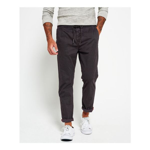 Superdry International Houndstooth Trousers ($63) ❤ liked on Polyvore featuring men's fashion, men's clothing, men's pants, men's casual pants, grey, mens jogger pants, mens patterned pants, mens floral print pants, mens grey dress pants and mens houndstooth pants