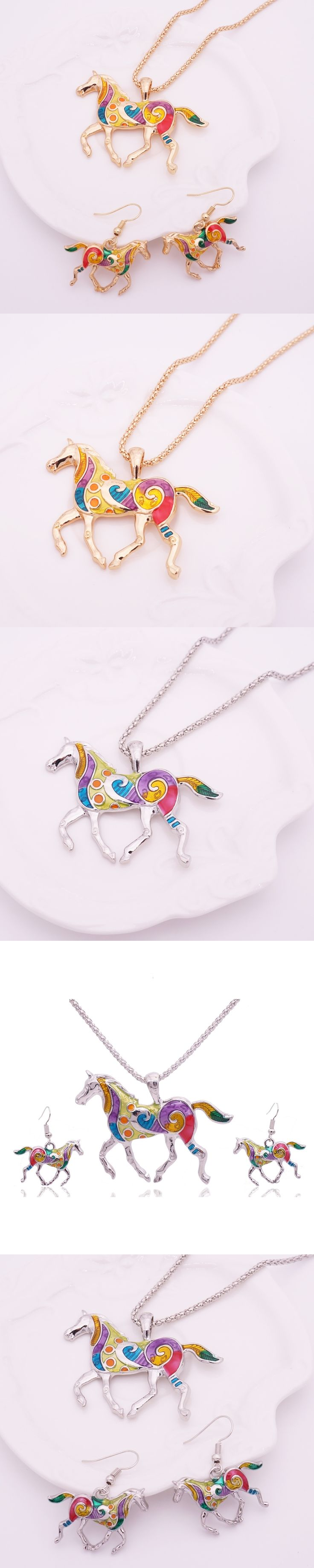 2016 Summer Enamel Horse Gold Jewelry Sets For Women Animal Horse Necklace Earring Set Turkish Fashion Jewelry