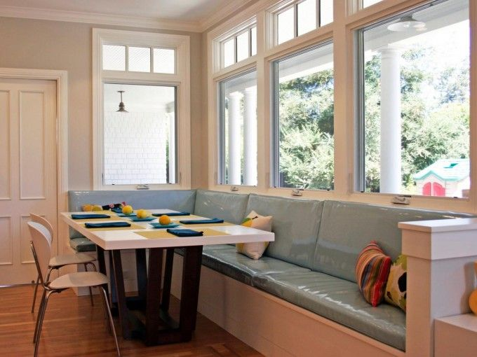 Casement Windows And Dining Banquette With Bench Table Plus Dining Chairs And Hardwood Flooring